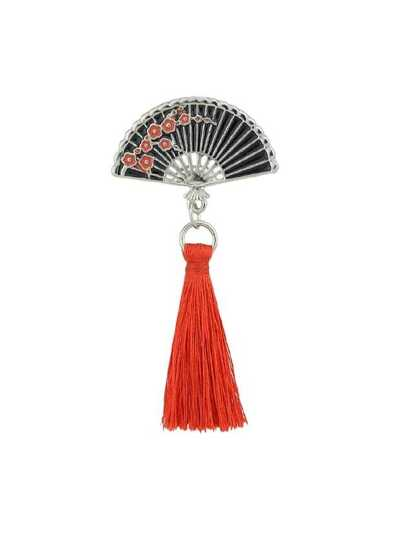 Enamel Sector Pattern Brooches With Red Tassel