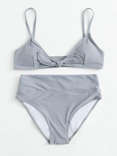 Conjunto de bikini anudado de talle alto