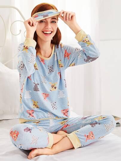 Ensemble de pyjama long à motif de l'animal