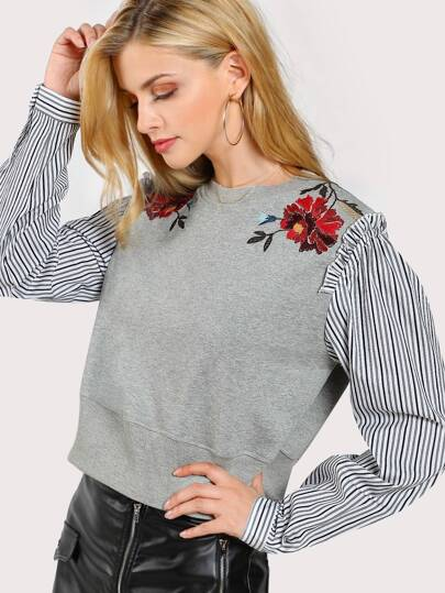 Floral Embroidered Striped Sleeve Sweatshirt GREY