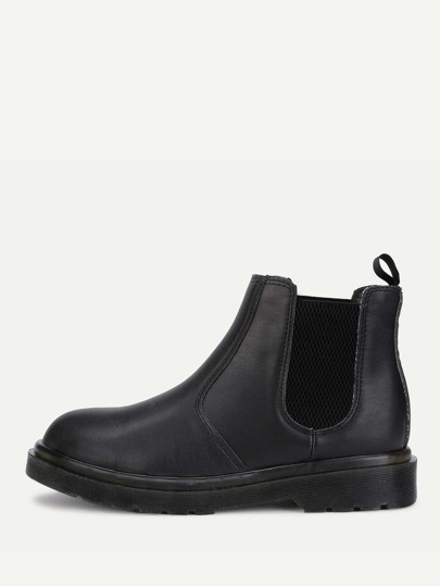Round Toe PU Ankle Boots