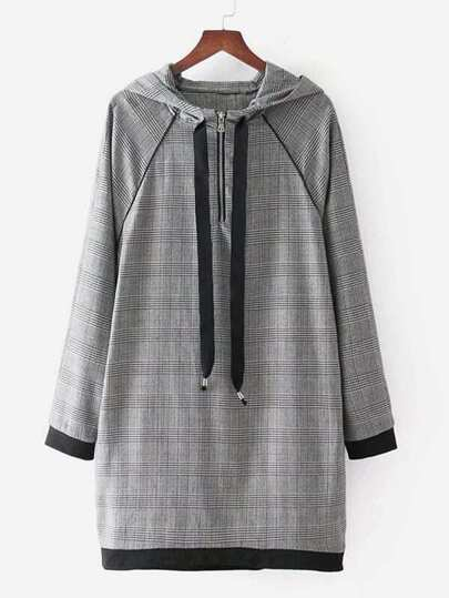 Raglan Sleeve Plaid Hooded Dress