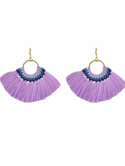 Purple Boho Fan Shaped Earrings Ethnic Style Tassel Big Earrings