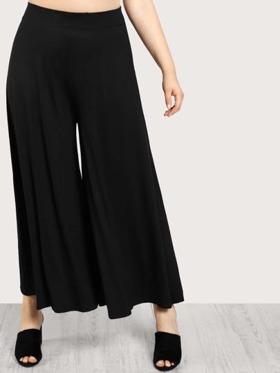 Solid Wide Leg Pants BLACK