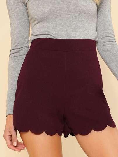 Scalloped Hem High Rise Shorts WINE