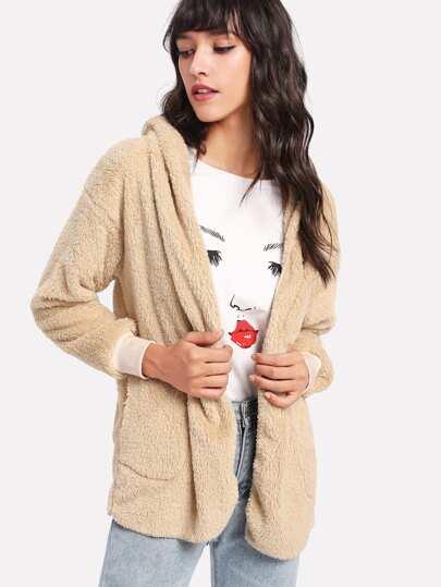Faux Fleece Hooded Jacket