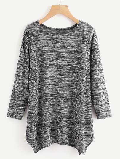 Camiseta de punto con efecto teñido espacial con bajo de pañuelo