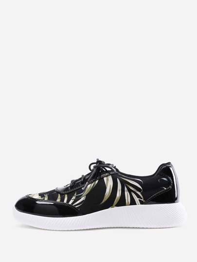 Jungle Print Lace Up Slip On Sneakers