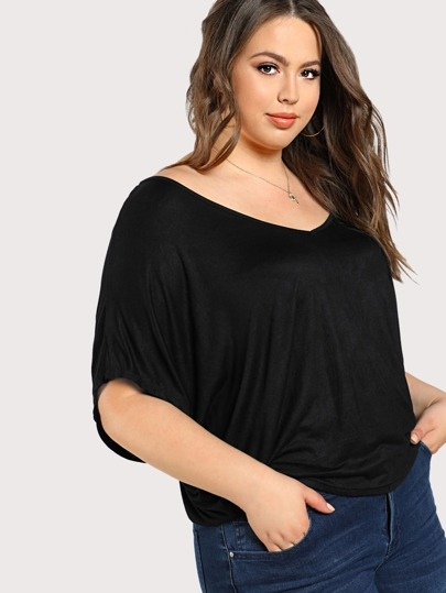 Cut Out Back Drop Sleeve Top BLACK