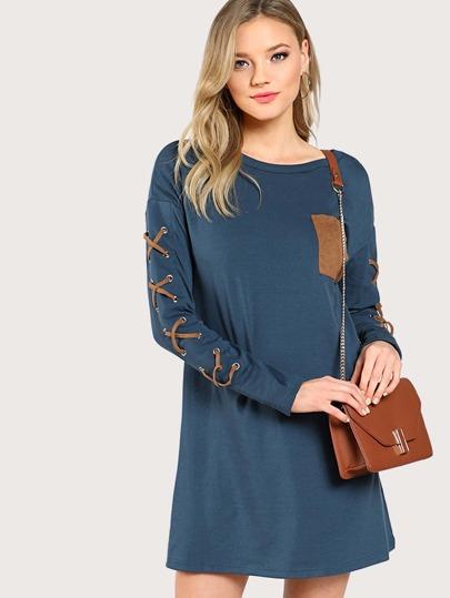 Drop Shoulder Grommet Crisscross Pocket Front Tee Dress