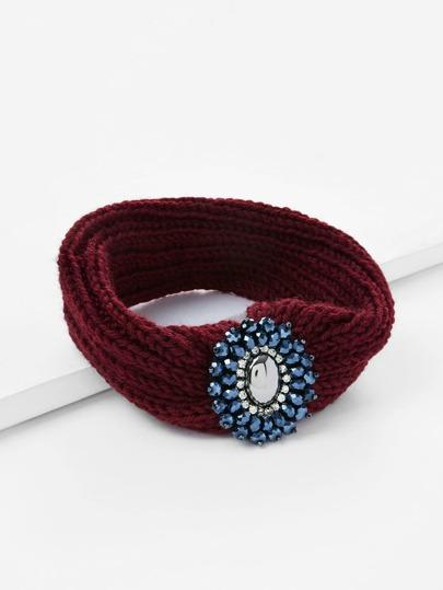 Bandeau tricoté avec fleur et strass