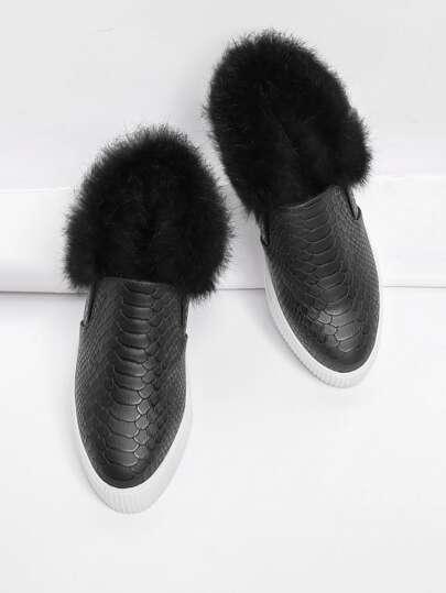 Snakeskin Print Flatform Sneakers With Faux Fur