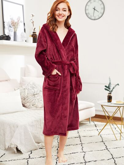 Self Tie Hooded Plush Robe