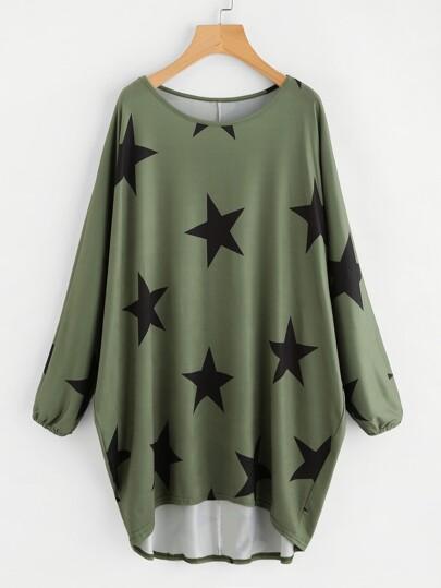 Random Stars Print Dip Hem Cocoon Dress