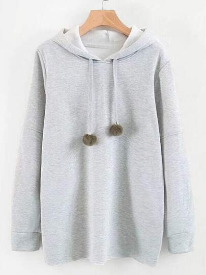 Drop Shoulder Hoodie With Pom Pom
