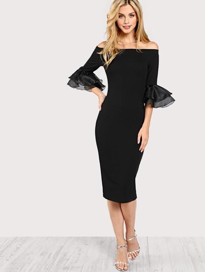 Slit Ruffle Sleeve Bardot Dress