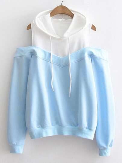Contrast Panel Open Shoulder Hoodie