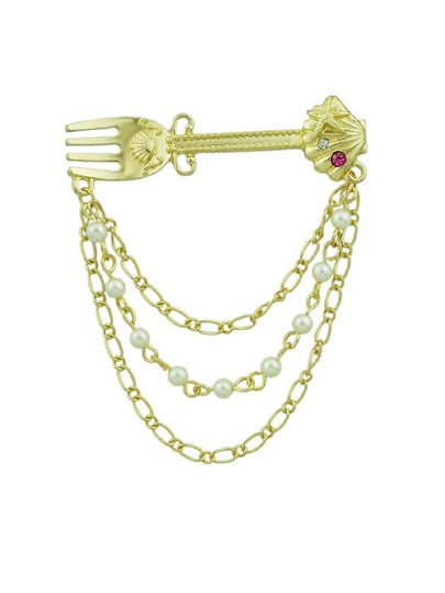Retro Style Gold-Color Chain With Simulated-Pearl Shell Fork Brooch