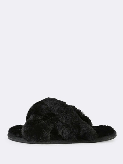 Fuzzy Criss Cross Slippers BLACK