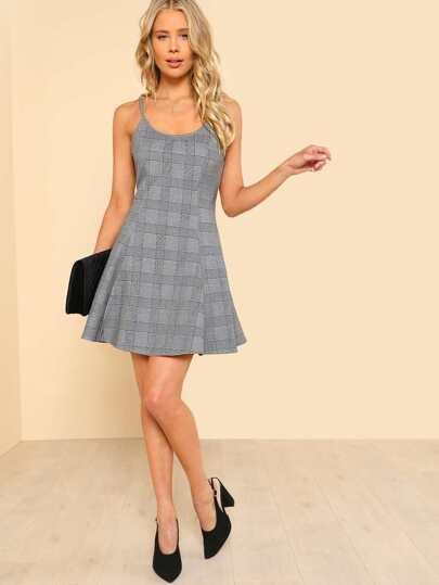 Plaid Fit & Flare Cami Dress
