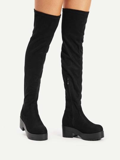 Round Toe Over Knee Platform Boots