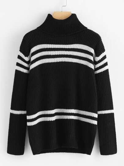 Jersey de rayas con cuello alto