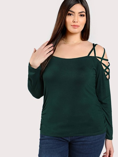 Strappy Shoulder Top GREEN