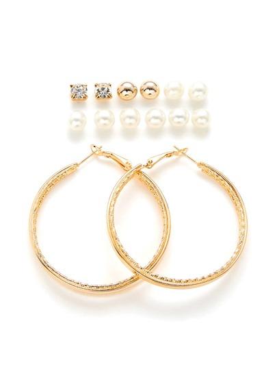 Faux Pearl Stud Earrings And Hoop Earrings