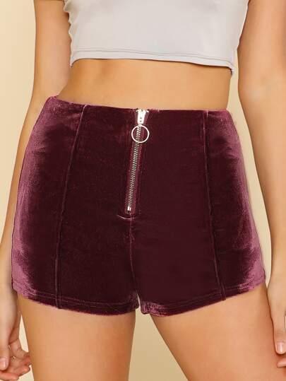 Velvet O Ring Zip Up Shorts WINE
