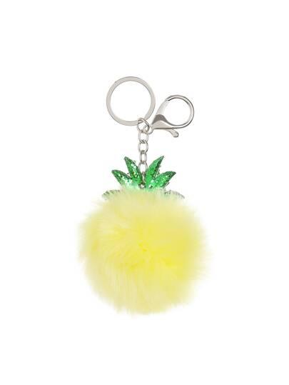 Pineapple Shaped Keychain With Pom Pom