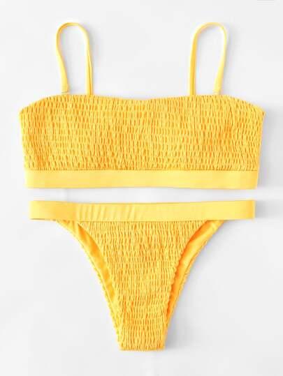 Set de bikini fruncido con tiras ajustables