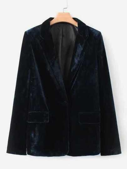 Single Button Velvet Blazer