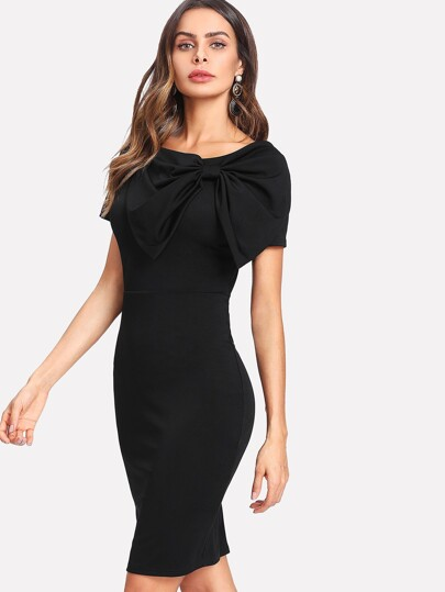 Exaggerate Bow Detail Zip Back Pencil Dress