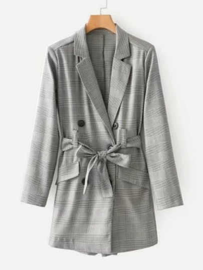 Double Breasted Plaid Blazer Romper With Belt