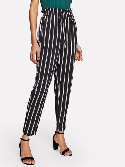 Vertical Striped Drawstring Pants
