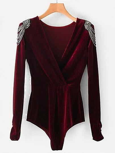 Beaded Shoulder Surplice Velvet Bodysuit