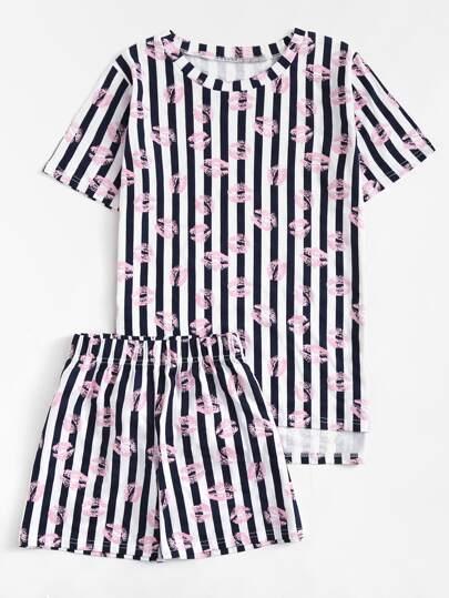 Lip Print Striped Pajama Set