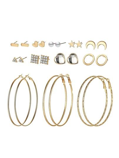 Star & Moon & Hoop Design Earring Set