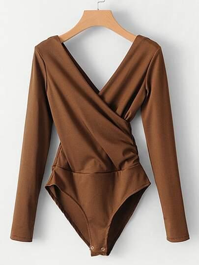 Surplice Double V Neckline Bodysuit
