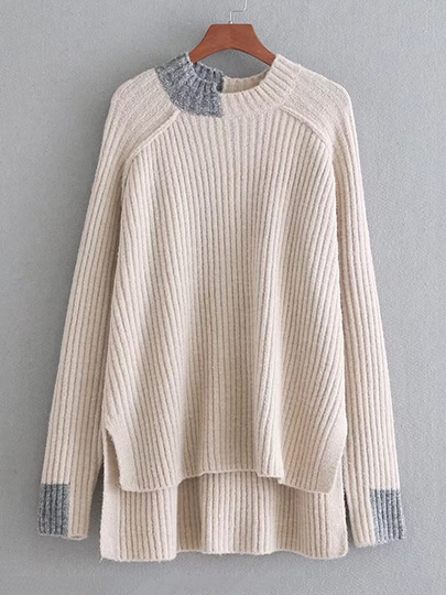 Contrast Trim High Low Sweater
