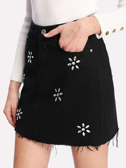 Raw Cut Rhinestone Accent Denim Skirt