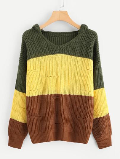 Jersey con capucha en color block