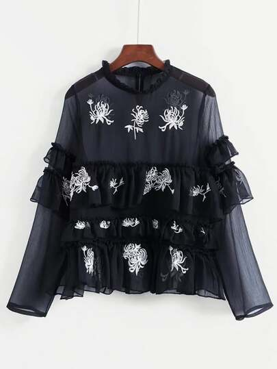 Tiered Ruffle Embroidered Mesh Blouse