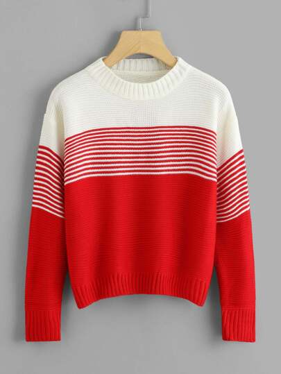 Stripe Panel Drop Shoulder Jumper