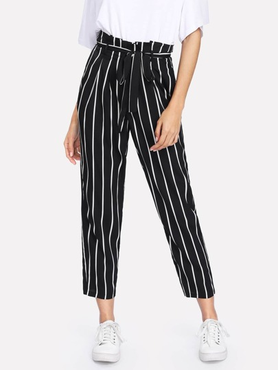 Self Belt Striped Pants