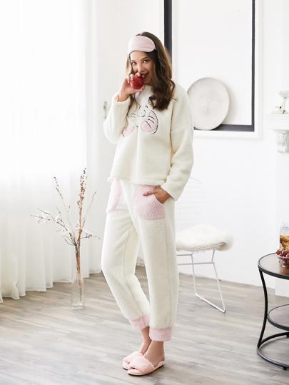 Cat Embroidered Plush Pullover & Pants PJ Set
