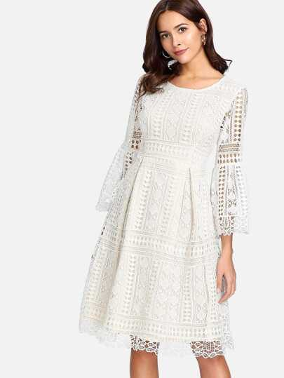 Guipure Lace Overlay Fit & Flare Dress