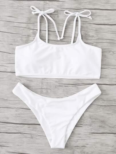 Set de bikini de tiras con nudo