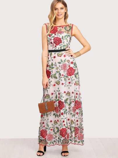 Vestito aperto sulla schiena con ricamo floreale