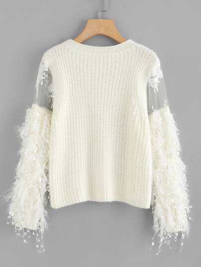 Lace Crochet Mesh Contrast Sweater
